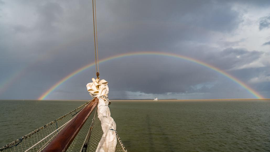 regenboog op het wad